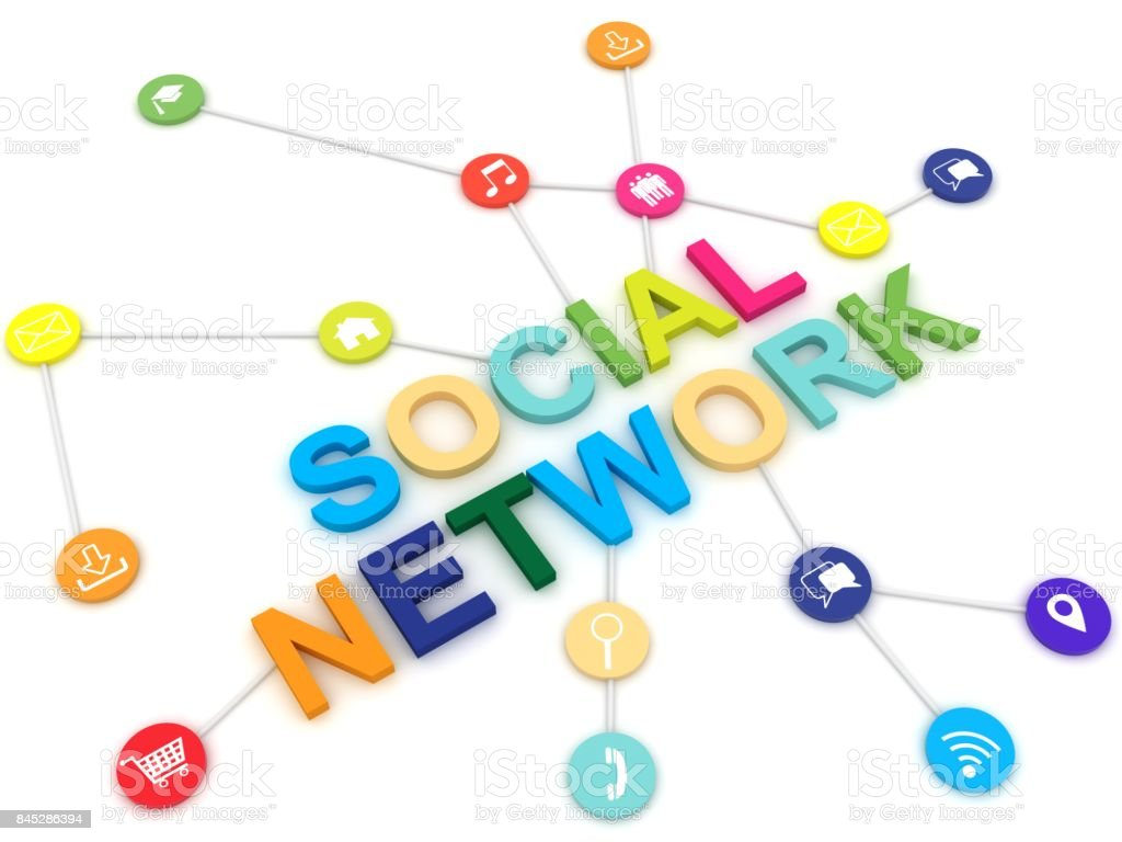Social network icons internet communication stock photo