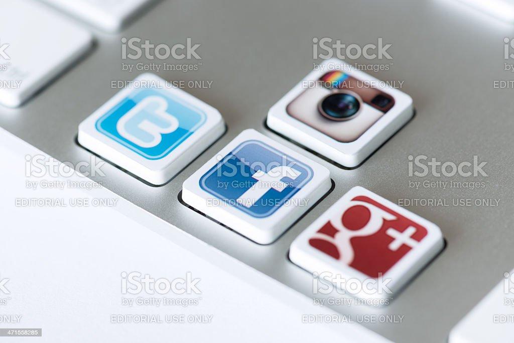 Social network keys royalty-free stock photo