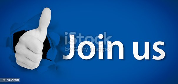Social network logo representing thumb up besides join us