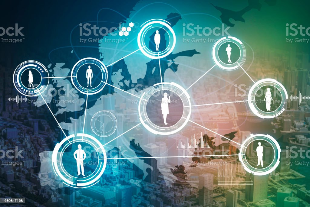 social network of europe, abstract image visual stock photo
