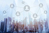 social network or business connections concept, double exposure