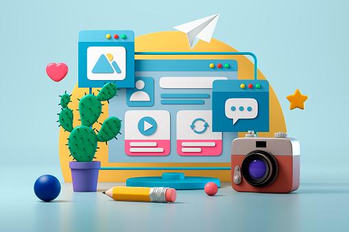 Computer, global networks and social media concept. Blue background. 3d illustration.