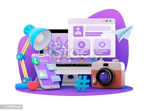 Computer, global networks and social media concept. 3d illustration.