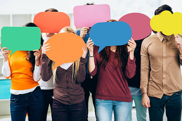 Social Network Speech Bubbles speech bubble stock pictures, royalty-free photos & images