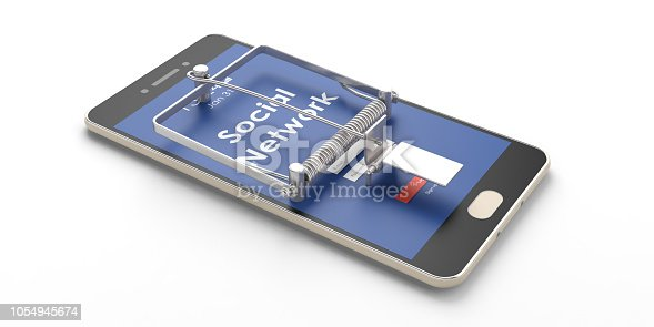Social network. Mobile phone mouse trap isolated on white background. 3d illustration