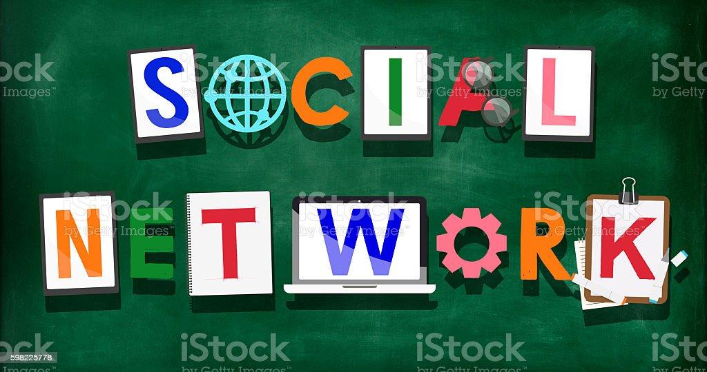 Rede Social de conceito de tecnologia Medai Social conectado foto royalty-free