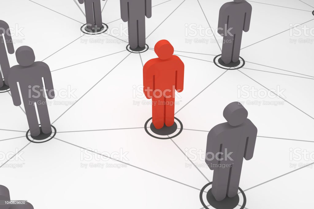 Social Network, Teamwork, White background, Standing out from the...
