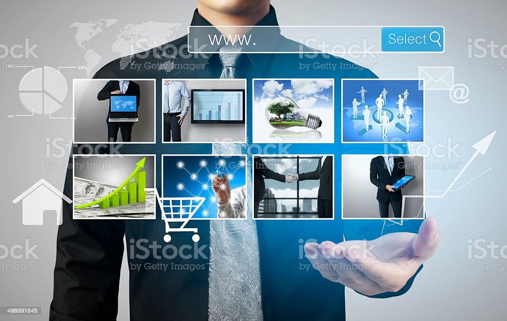 social network structure in hand stock photo