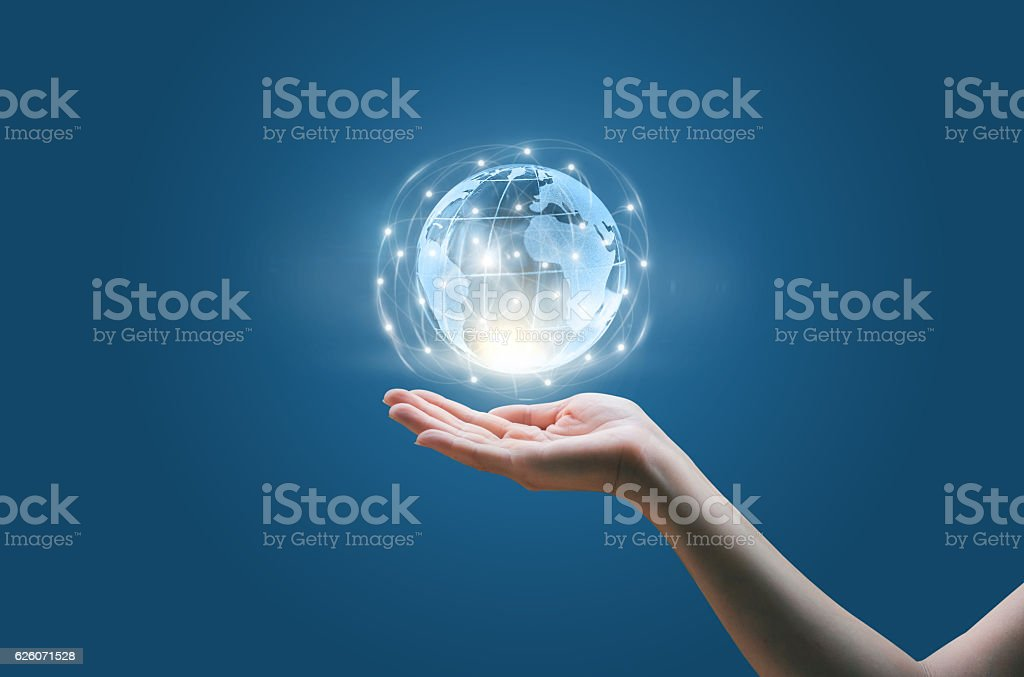 social network structure in the hands stock photo