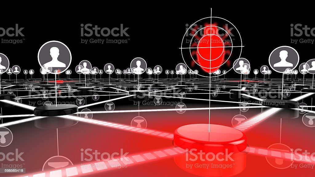 Social network under attack by bugs stock photo