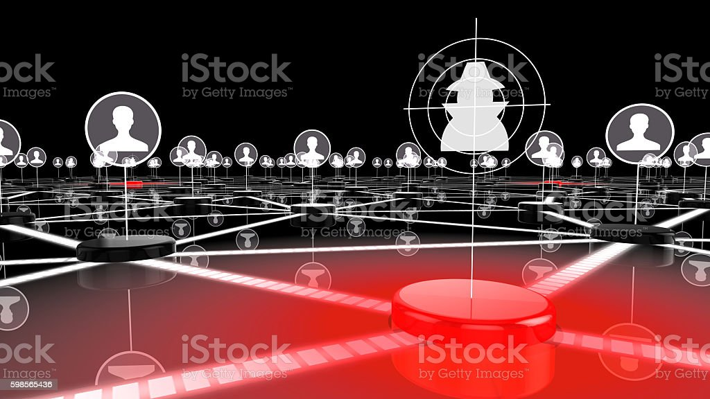 Social network under attack by hacker stock photo