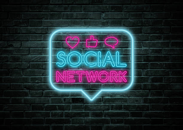 Social network vintage neon sign stock photo