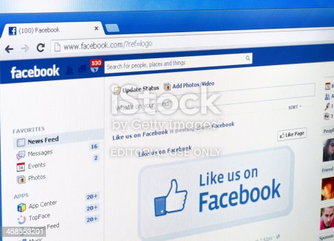 Chisinau Moldova - April 14, 2013: Facebook web page. Shot on monitor screen. Facebook is a social network web resourAe.