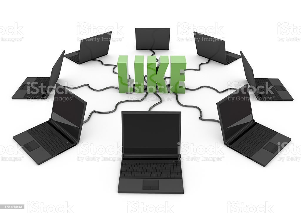 Social Network with laptop computer royalty-free stock photo