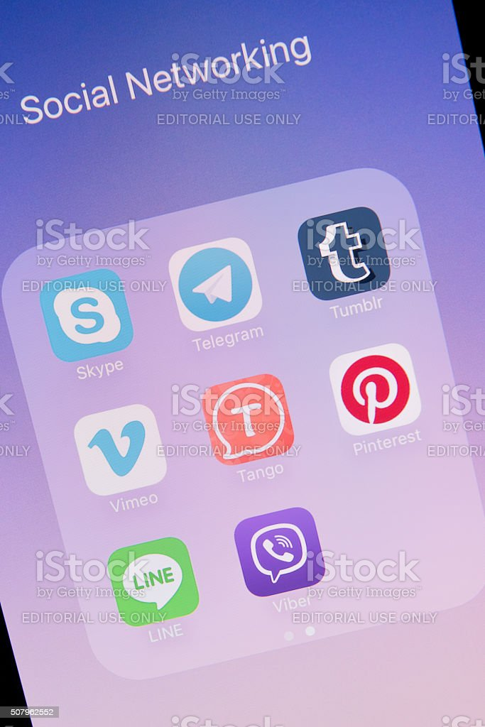 Social Networking Apps on Apple iPhone 6S Plus Screen stock photo
