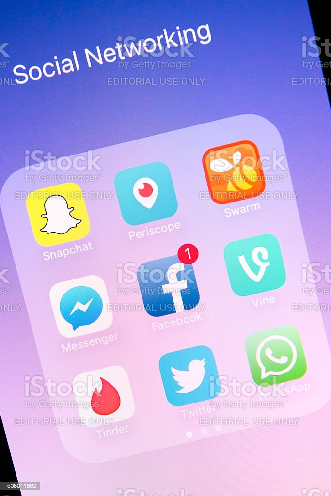 Social Networking Apps on Apple iPhone 6s Plus Screen Antalya, Turkey - February 02, 2016 : A close up of an Apple iPhone 6s Plus screen showing various social networking apps, including Snapchat, Periscope, Swarm, Messenger, Facebook, Vine, Tinder, Twitter and WhatsApp Apple Computers Stock Photo