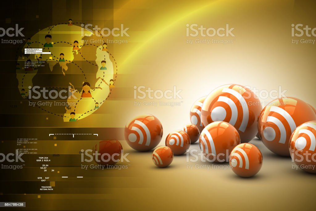 Social networking bubbles stock photo