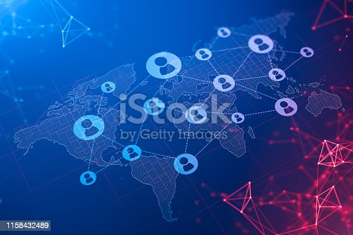 Abstract background with social network connection hologram on world map. Concept of HR and social media. Globalization. 3d rendering. Elements of this image furnished by NASA