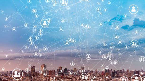 koncepcja sieci społecznościowych. sieci komunikacyjnej. - sieć komputerowa zdjęcia i obrazy z banku zdjęć