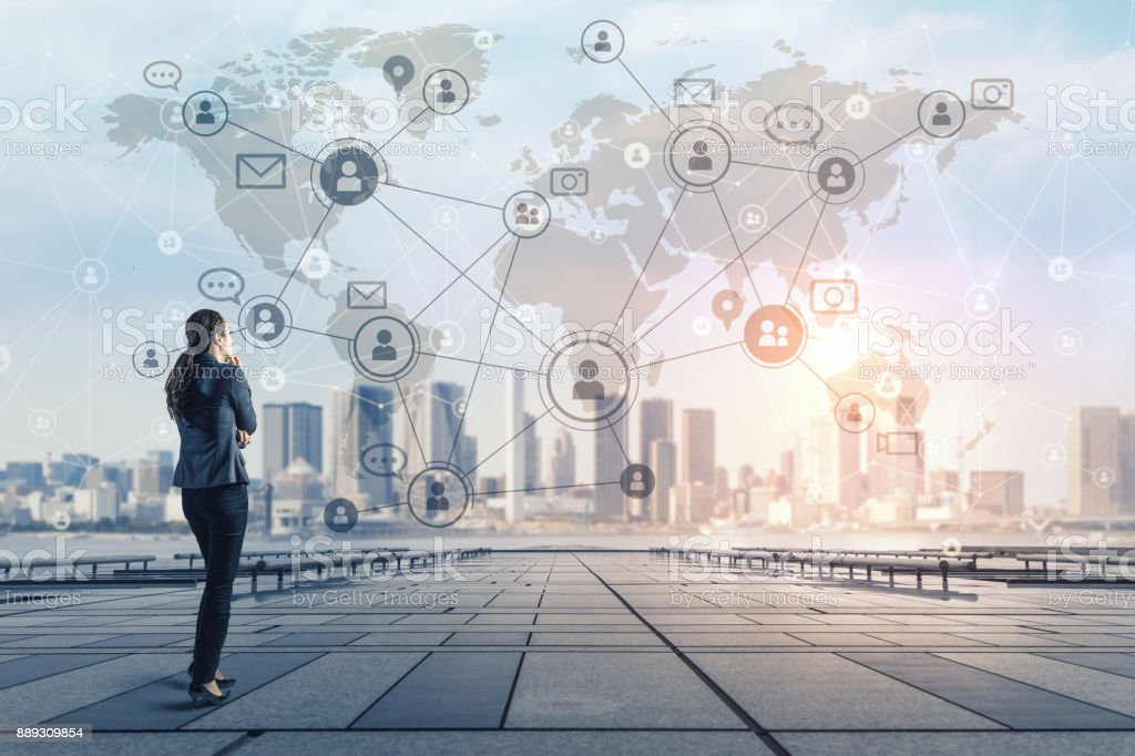 Social networking concept. Global business. Crowd sourcing. stock photo