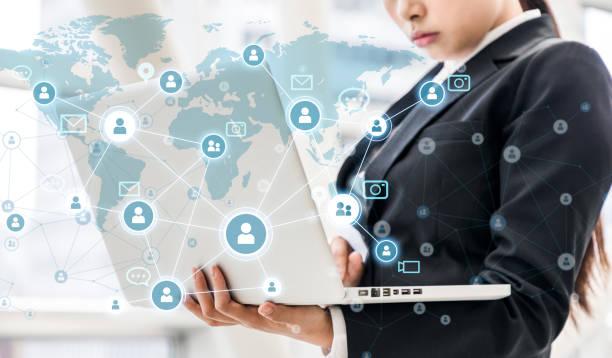 social networking concept. - człowiek maszyna zdjęcia i obrazy z banku zdjęć