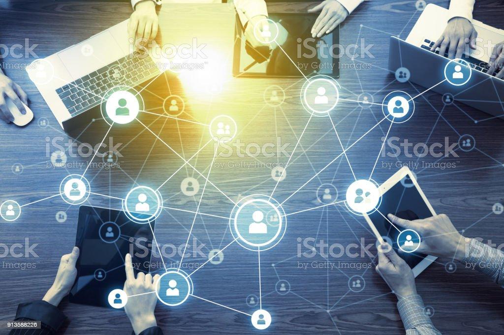 Sociala nätverk koncept. bildbanksfoto