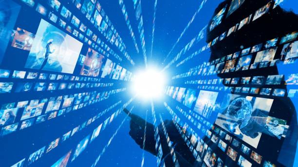 social networking concept. streaming video. - business woman hologram imagens e fotografias de stock