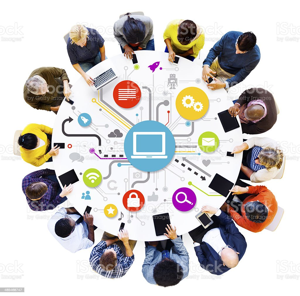 Social Networking Multi-Ethnical People Around The Table With Th stock photo