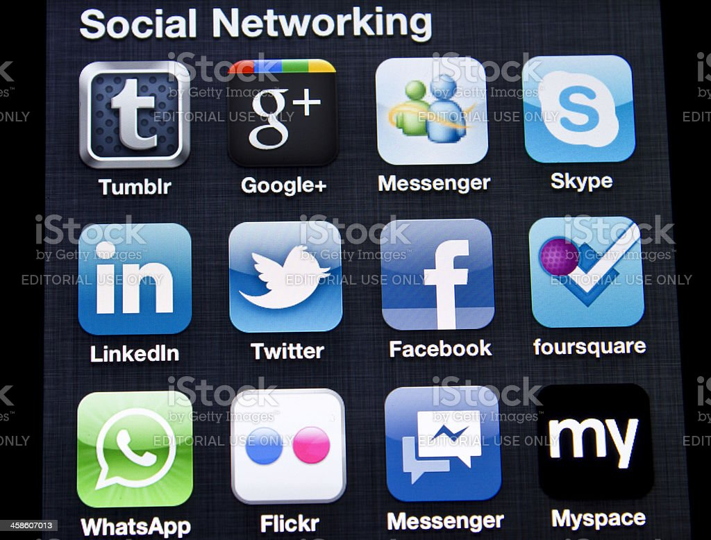 Social Networking on Iphone 4 royalty-free stock photo
