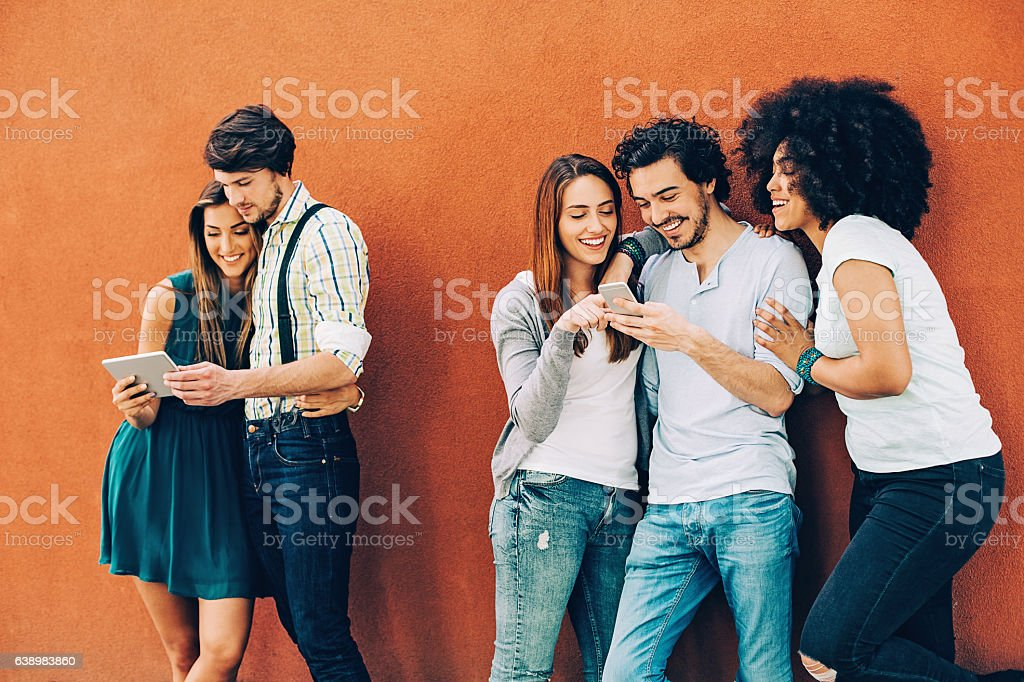 Social networking people stock photo