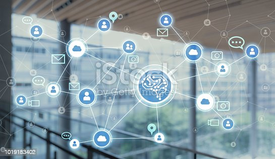 1019164310istockphoto AI (Artificial Intelligence). Social networking. 1019183402