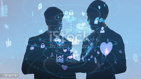 875512438 istock photo Social networking service concept. communication network. 1181557767