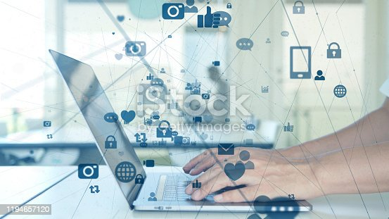 istock Social networking service concept. communication network. 1194657120