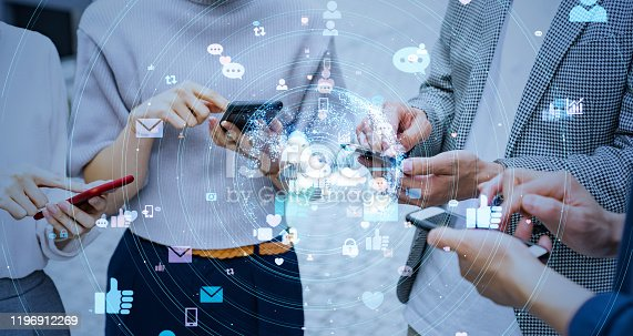 861146256 istock photo Social networking service concept. communication network. 1196912269