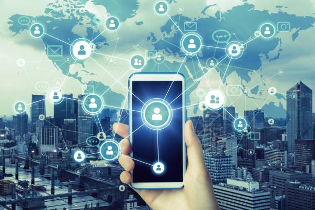 sociale netwerken dienstverleningsconcept. wereldwijde communicatienetwerk. - smeren stockfoto's en -beelden