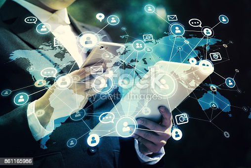 istock Social networking service concept. Global communication network. 861165986