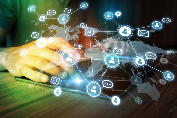Social networking service concept. Global communication network. stock photo
