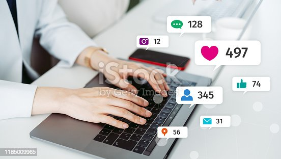 istock Social networking service concept. Influencer marketing. 1185009965