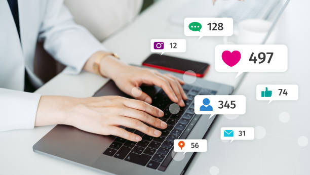 Social networking service concept. Influencer marketing. stock photo