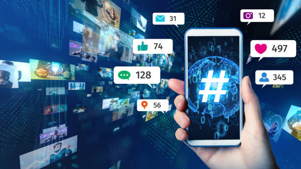 Social networking service concept. Streaming video. stock photo