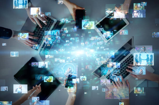 Social-Networking-Service-Konzept. Streaming-Video. videothek. – Foto