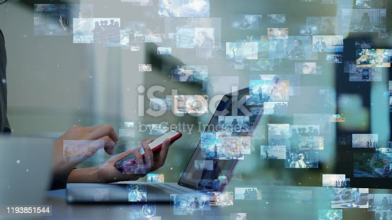 istock Social networking service concept. Streaming video. Video library. 1193851544