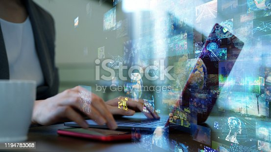 1029147344 istock photo Social networking service concept. Streaming video. Video library. 1194783068
