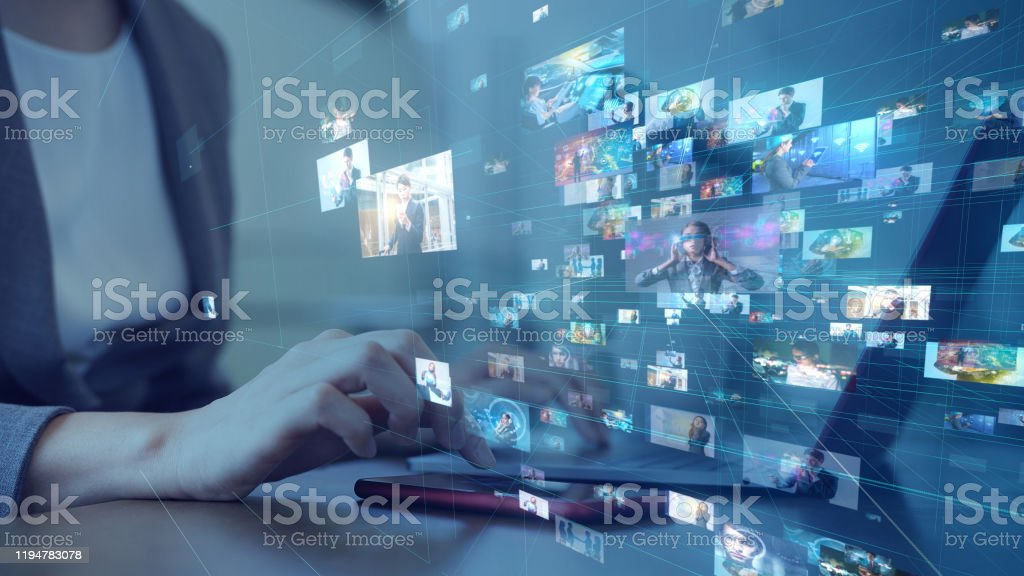 Social networking service concept. Streaming video. Video library. - Royalty-free 5G Stock Photo