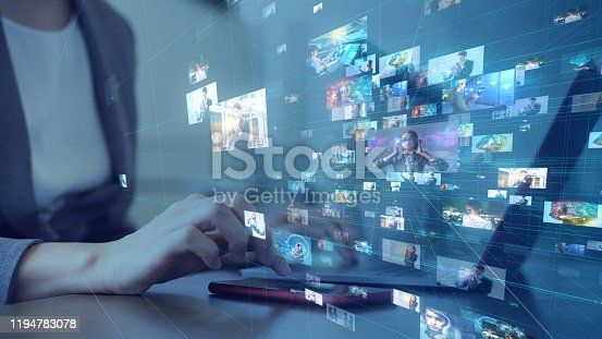 Social networking service concept. Streaming video. Video library.