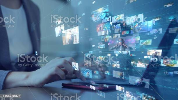 Social Networking Service Concept Streaming Video Video Library Stock Photo - Download Image Now