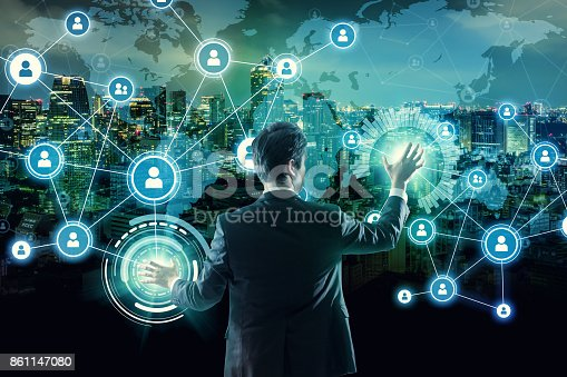 istock Social networking service concept. Worldwide connection. Mixed media. 861147080