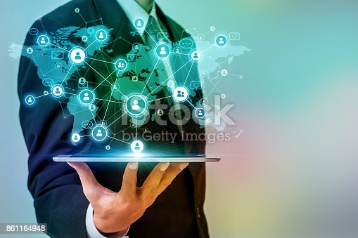 istock Social networking service concept. Worldwide connection. Mixed media. 861164948