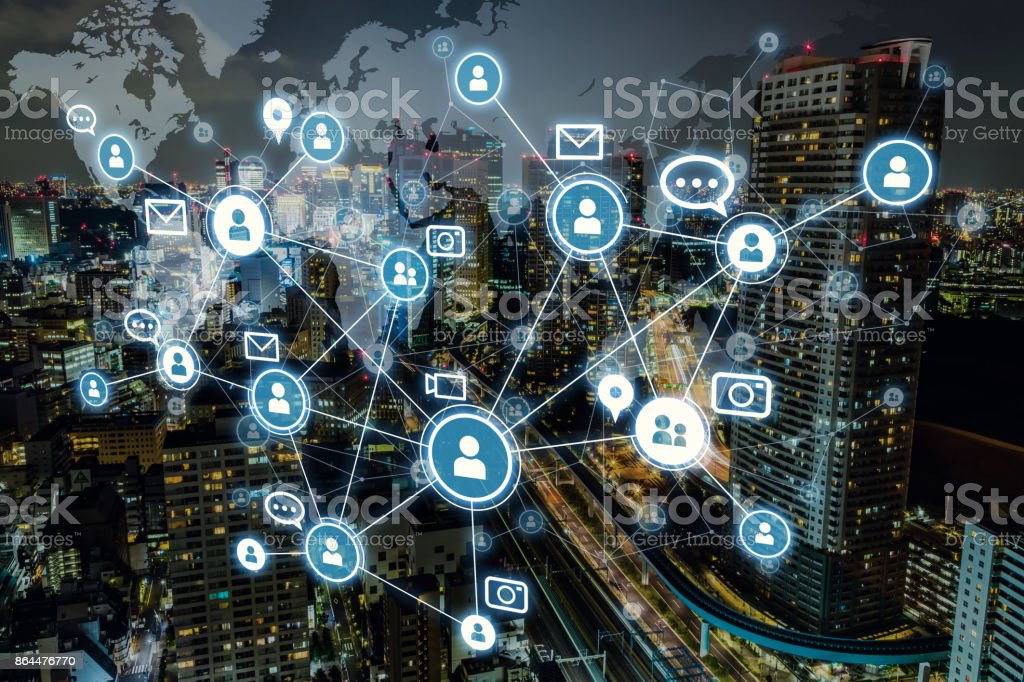Social networking service concept. Worldwide connection. Mixed media. stock photo