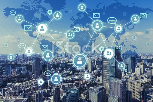 istock Social networking service concept. Worldwide connection. Mixed media. 864476790